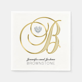 Personalized Monogram Letter B Gold White Wedding Paper Napkins