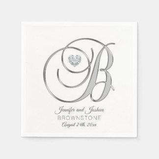 Personalized Monogram Letter B Silver Wedding Paper Napkin