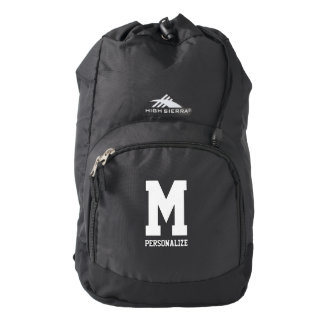 Personalized monogram letter black hiking backpack