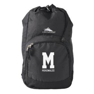 Personalized monogram letter black hiking backpack