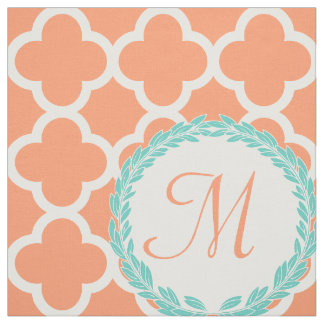 Personalized Monogram Letter Coral Peach Teal Fabric
