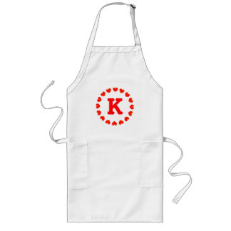 Personalized monogram letter K apron for women