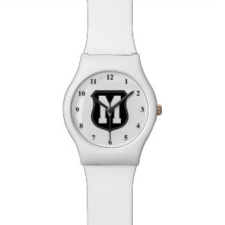 Personalized monogram letter sports watch