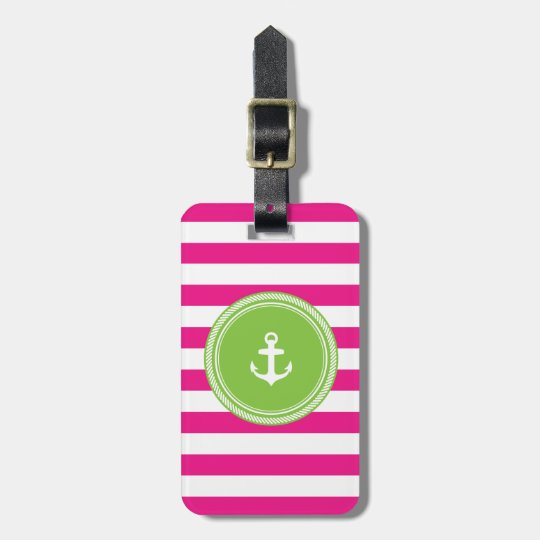 Personalized Monogram Lime and Hot Pink Nautical Luggage Tag