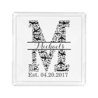 Personalized Monogram M, Aviation Gift Acrylic Tray
