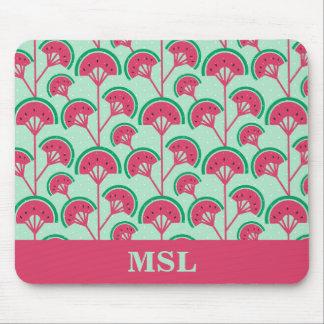 Personalized Monogram Melon Fleur Fan Pattern Mouse Pad