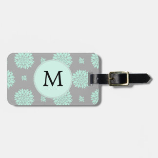 Personalized Monogram Mint and Gray Floral Pattern Luggage Tag