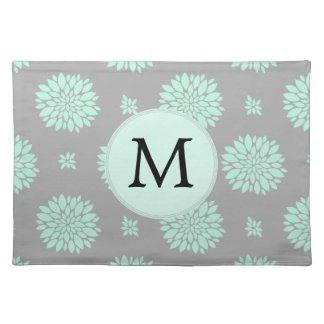Personalized Monogram Mint and Gray Floral Pattern Placemat