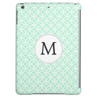 Personalized Monogram Mint Double Rings pattern iPad Air Case