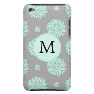 Personalized Monogram Mint Gray Floral pattern Barely There iPod Covers