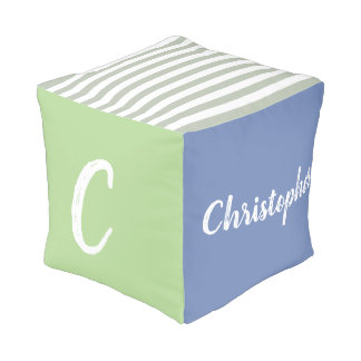Personalized, Monogram, Name, boy, blue, green Pouf
