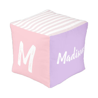 Personalized, Monogram, Name, Pink, Purple Pouf