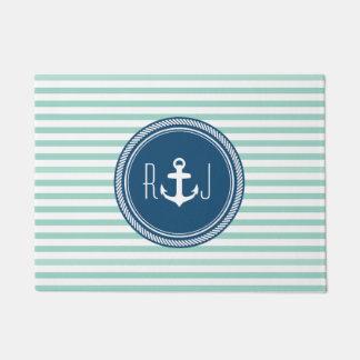 Personalized Monogram Navy and Seafoam Nautical Doormat