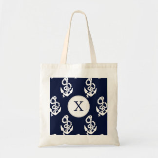 Personalized Monogram Navy Blue Anchor Nautical Tote Bag