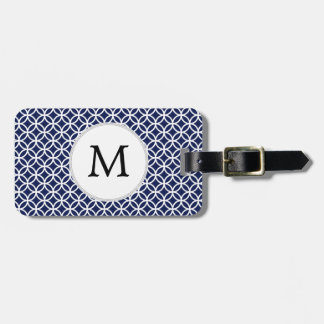 Personalized Monogram navy blue rings pattern Luggage Tag
