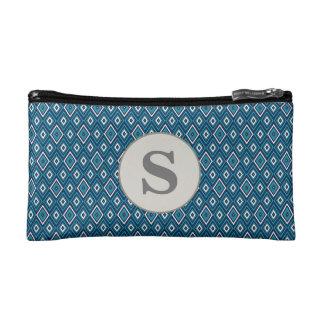 Personalized Monogram Navy Blue Teal White Diamond Cosmetic Bag
