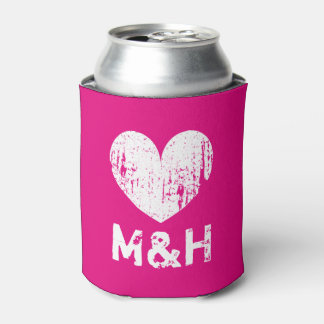 Personalized monogram neon pink wedding can cooler