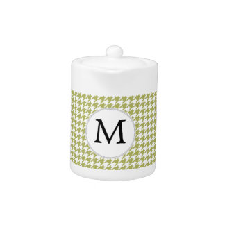 Personalized Monogram Olive houndstooth Pattern