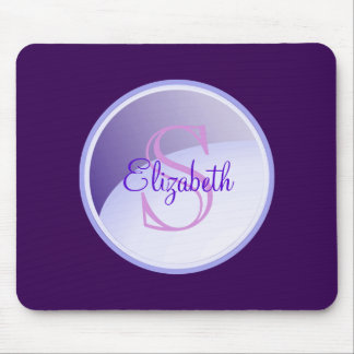 Personalized Monogram on a Lavender Purple Circle Mouse Pad