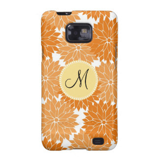 Personalized Monogram Orange Flower Blossoms Galaxy S2 Case