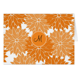 Personalized Monogram Orange Flower Blossoms Note Card