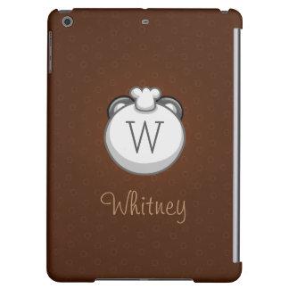 Personalized Monogram Panda | Elegant Brown Case For iPad Air