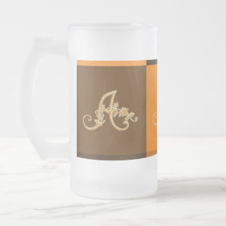 Personalized Monogram Pattern - 16 Oz Frosted Glass Beer Mug