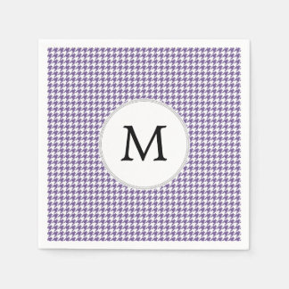 Personalized Monogram Purple Houndstooth Pattern Paper Napkins