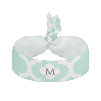 Personalized Monogram Quatrefoil Mint and White Hair Tie