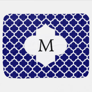 Personalized Monogram Quatrefoil Navy and White Baby Blanket