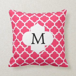 Personalized Monogram Quatrefoil Pink and White Throw Pillow