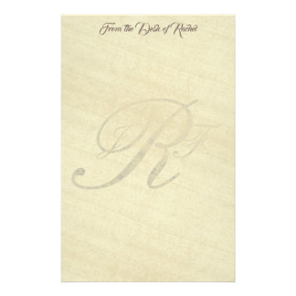Personalized Monogram R Faux Rice Paper Stationery