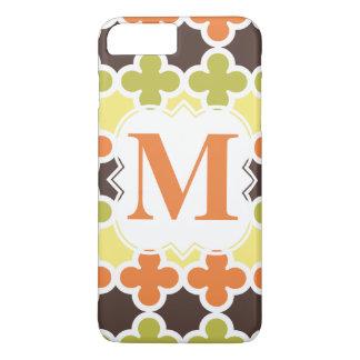 Personalized Monogram Retro Quatrefoil Pattern iPhone 7 Plus Case