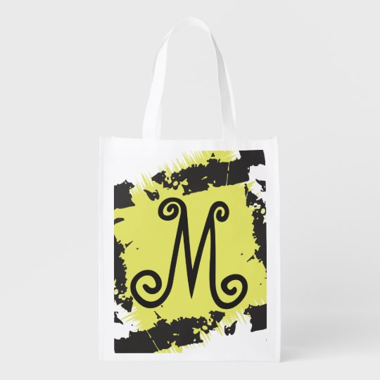 Personalized Monogram Reusable Grocery Bag Yellow