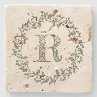 Personalized Monogram Sage Green Floral Stone Coaster