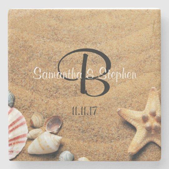 Personalized Monogram Sea Beach Wedding Gift Stone Beverage Coaster