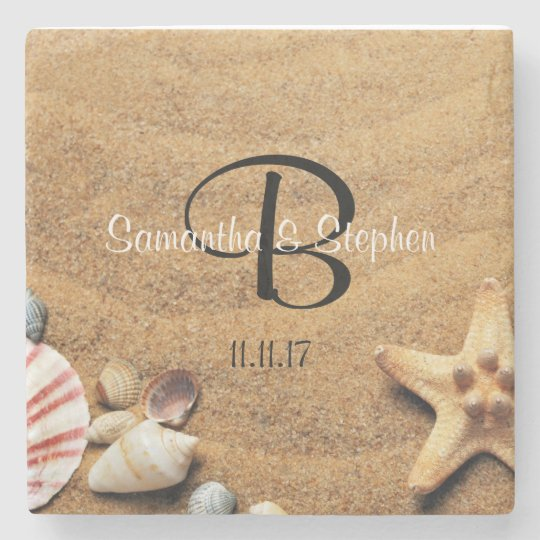 Personalized Monogram Sea Beach Wedding Gift Stone Coaster