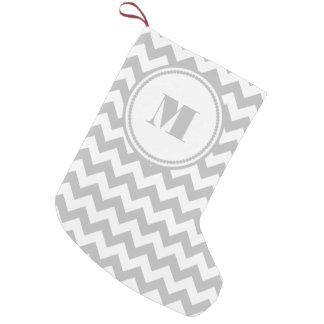 Personalized Monogram Silver Gray White Chevron Small Christmas Stocking