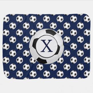 Personalized Monogram Soccer Balls Sports Baby Blanket