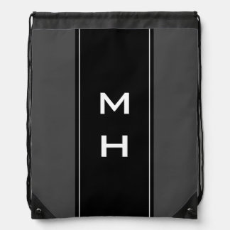 Personalized monogram striped drawstring bag