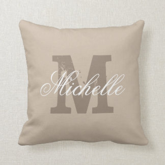 Personalized monogram taupe beige throw pillow