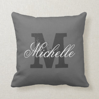 Personalized monogram throw pillow | Charcoal gray
