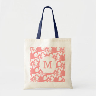 Personalized monogram tote bag | coral and navy