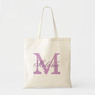 Personalized monogram tote bag | lavender purple