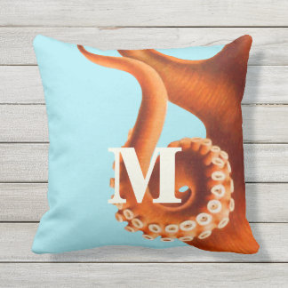 Personalized Monogram Vintage Octopus Illustration Outdoor Pillow