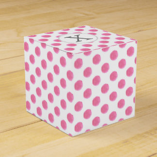 Personalized monogram watercolor pink polka dots P Wedding Favor Boxes