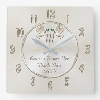Personalized Monogram Wedding Gifts Clock