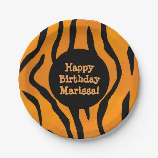 Personalized Monogram Wild Thing Tiger Stripes Paper Plate