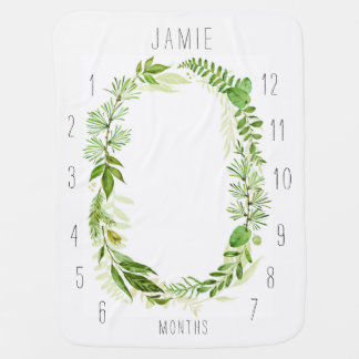 Personalized Monogram Wreath Monthly Baby Blanket