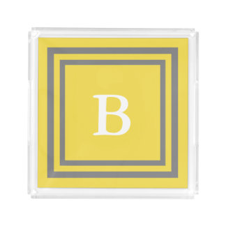Personalized Monogram Yellow and Gray Acrylic Tray